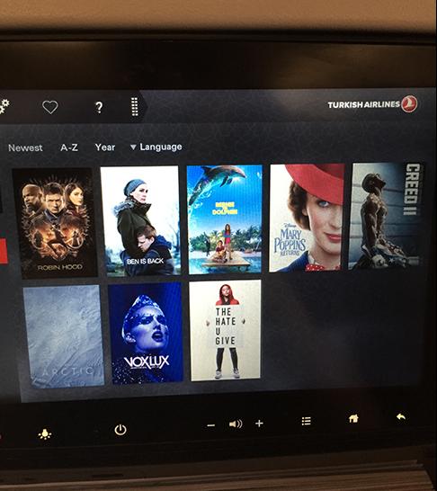 Underholdningssystemet til «Turkish Airlines».