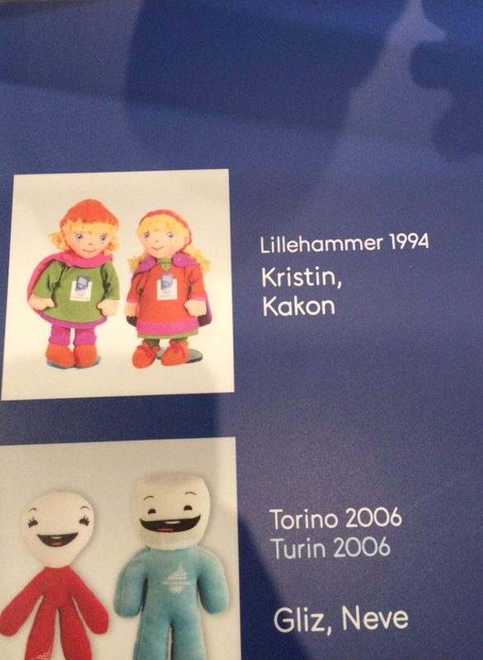 Maskot-oversikt på olympisk museum, ikke alltid like lett å skrive Håkon.