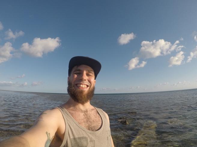 Barten måtte bort når det skulle snorkles og dykkes så mye!
